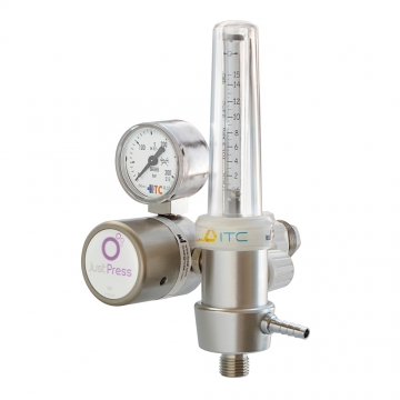 Gas regulator with double outlet ball flowmeter